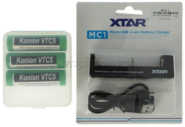 XTAR MC1 Bundle - Ladegerät + 3 Akkuzellen + Akkubox