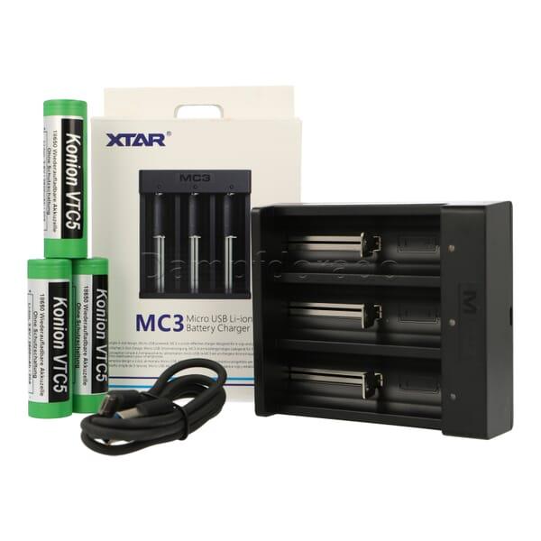 XTAR MC3 Bundle - Ladegerät + 3 Akkuzellen