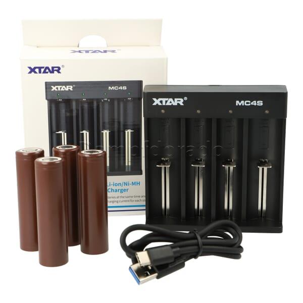 XTAR MC4S Bundle - Ladegerät + 4 Akkuzellen